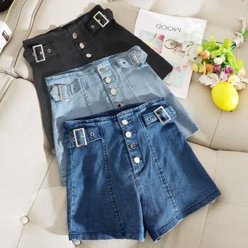 Къси дънкови панталони с копчета и регулираща се талия