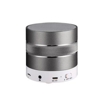Мини преносима Bluetooth тонколона с алуминиев корпус, слот за TF карта, FM, Handsfree и USB порт в сив цвят