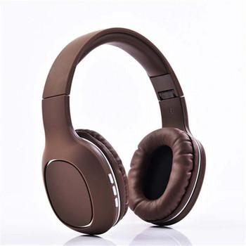 Безжични Bluetooth слушалки модел SY-BT1608 с вграден микрофон, AUX кабел и слот за IF карта в кафяв цвят