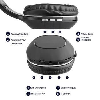 Безжични Bluetooth слушалки модел SY-BT1608 с вграден микрофон, AUX кабел и слот за IF карта в сив цвят