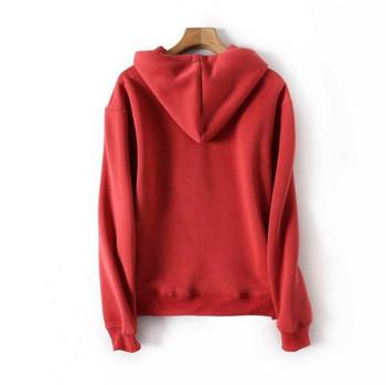 Дамски ежедневен червен суичър с качулка