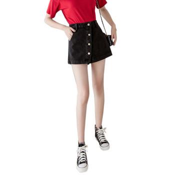 Дамски ежедневни къси дънки с висока талия и копчета