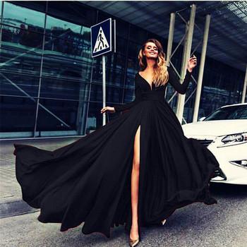 Κομψό γυναικείο μακρύ φόρεμα με σχισμή και λαιμόκοψη