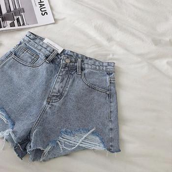 Модерни къси дънкови панталони с висока талия, скъсани мотиви и бродерия
