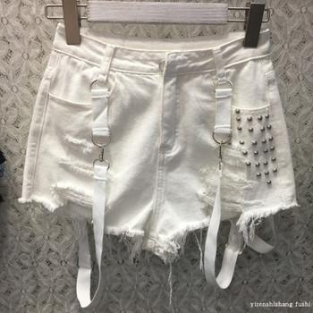 Нов модел дамски къси панталони с тиранти и метални капси