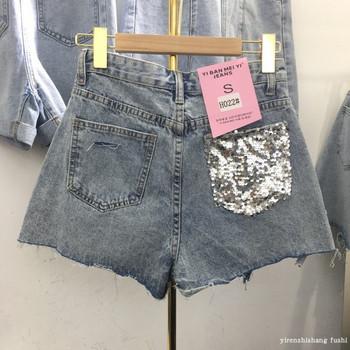 Дамски модерни дънкови къси панталони с пайети на джоба