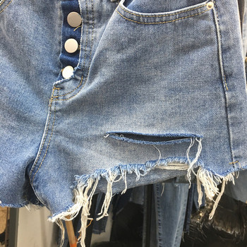 ХИТ Дамски ежедневни къси дънкови панталони с разкъсани мотиви
