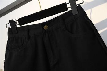 Голям размер дамски дънкови къси панталони с висока талия и скъсани мотиви