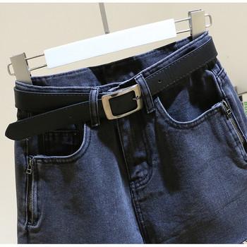 Ежедневни дамски къси дънкови панталони с ципове