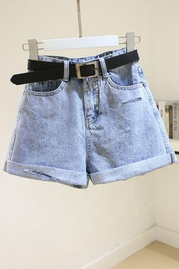 Дамски дънкови къси панталони с колан
