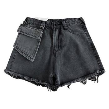 Дънкови къси панталони с висока талия и висящ джоб