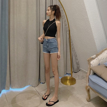 Къси дънкови панталони с висока талия и ресни