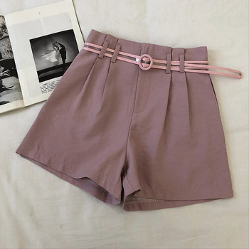 Ежедневни къси дамски панталони с висока талия и колан