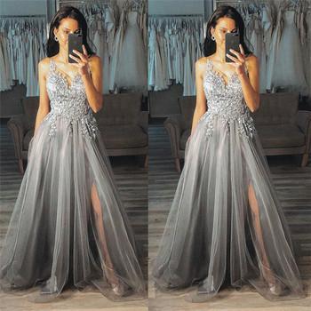 Стилна дамска дълга рокля с тюл и тънки презрамки