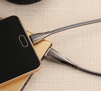 Метален USB кабел тип пружина Type Lightning в тъмносив цвят
