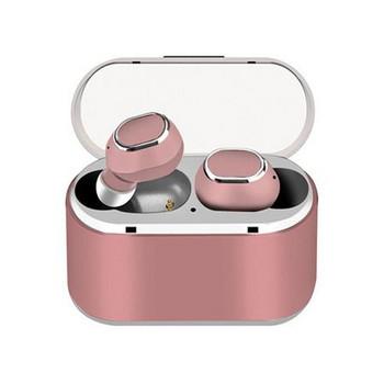 Безжични Earbuds слушалки модел TWS18 с powerbank, Bluetooth версия 5.0 + EDR, Стерео звук - розов цвят
