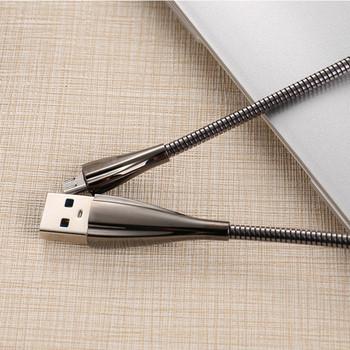 Метален бързозареждащ  кабел тип пружина Micro usb в тъмносив цвят