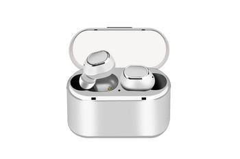 Безжични Earbuds слушалки модел TWS18 с powerbank, Bluetooth версия 5.0 + EDR, Стерео звук - сребристо бял цвят