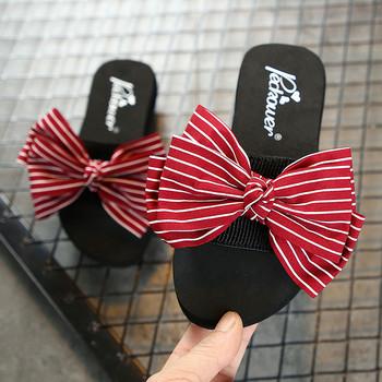 Детски чехли за момичета с панделка - равна подметка