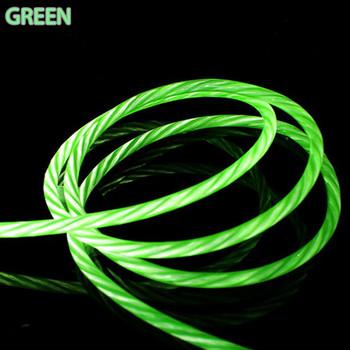 Бързозареждащ светещ кабел Micro usb в зелен цвят
