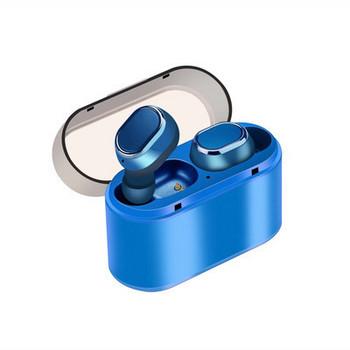Безжични Earbuds слушалки модел TWS18 с powerbank, Bluetooth версия 5.0 + EDR, Стерео звук - син цвят