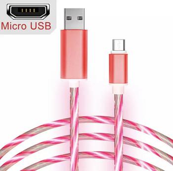 Бързозареждащ светещ  кабел Micro usbв розов цвят