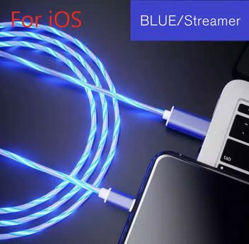 Светещ бързозареждащ USB кабел Type Lightning в син цвят