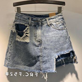 Нов модел дамска дънкова пола-панталон с разкъсани мотиви