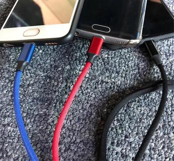 Многофункционален текстилен кабел за зареждане и синхронизиране на Android и IOS - TYPE-C, Micro USB, Lighting
