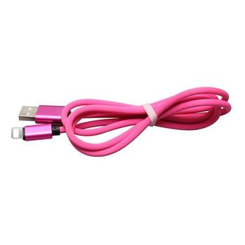 Текстилен USB кабел Type-L в розов цвят