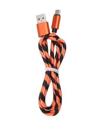 Бързозареждащ USB кабел Type-C с плетена обвивка в оранжев цвят
