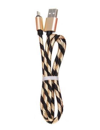 Бързозареждащ USB кабел Type-C с плетена обвивка в златист цвят