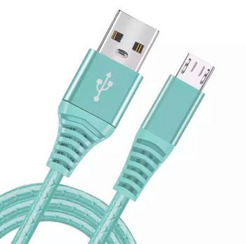 Силиконов бързозареждащ кабел Micro usb в зелен цвят