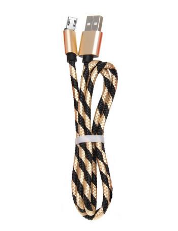 Бързозареждащ  кабел Micro usb с плетена обвивка в златист цвят