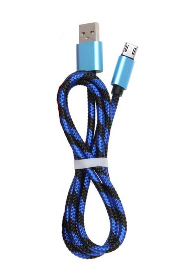 Бързозареждащ кабел Micro usb с плетена обвивка в син цвят