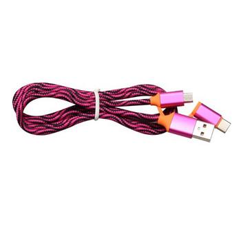 Бързозареждащ текстилен  кабел 2  в 1 Micro usb + Type C в розов цвят