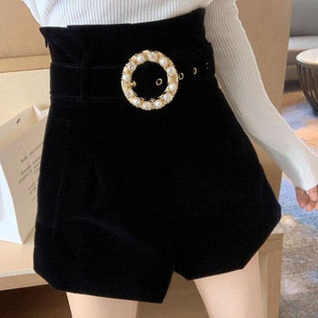 Стилни къси панталони от кадифе с висока талия и колан