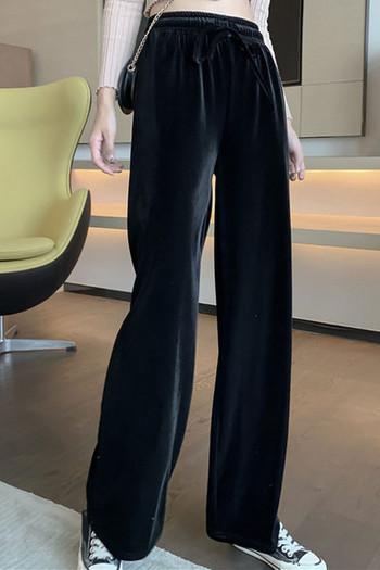 Ежедневни дамски панталони широк модел от кадифе с еластична талия