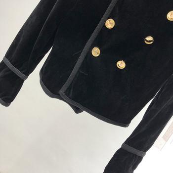 Дамско палто от еко велур и странично закопчаване