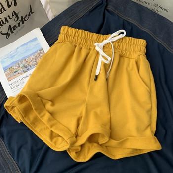 Ежедневни памучни къси панталони с еластична талия и връзки