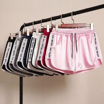 Ежедневни къси сатенени панталони с надписи и размери до 5XL