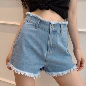 Ежедневни дамски къси дънкови панталони  с висока талия