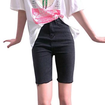Къси дамски дънки втален модел с висока талия