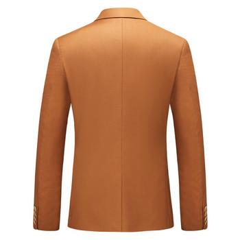 Стилен мъжки костюм от три части - сако, елек и панталон с размери до 6XL
