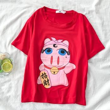 Дамска широка тениска с апликация и овално деколте