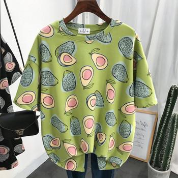 Ежедневна дамска памучна тениска с овално деколте, къс ръкав и десен с авокадо