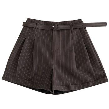 Къси дамски широки панталони с колан и висока талия