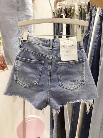 ХИТ Дамски къси дънкови панталони с разкъсани мотиви