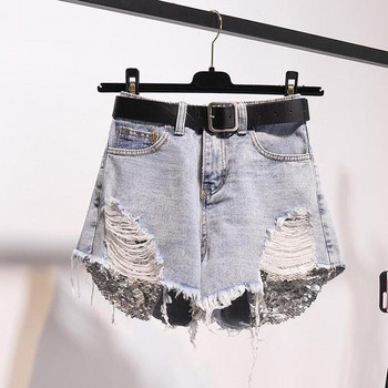 Дамски дънкови къси панталони с пайети на джобовете