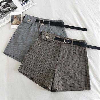 Карирани къси панталони с колан и джобове